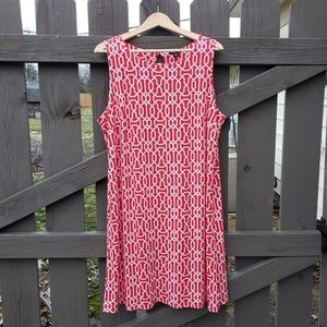 Orange-Red and White XL Dress